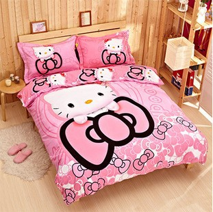 100 cotton cartoon hello kitty bedding sets duvet cover bed sheets linen pillowcase minion for adult kids set in from home