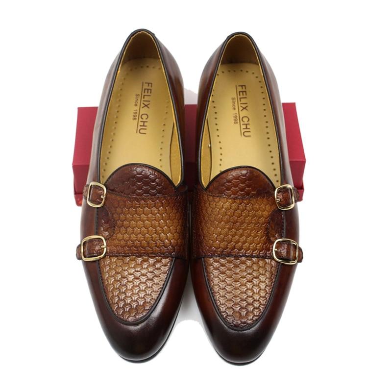FELIX CHU ฤดูใบไม้ร่วงสไตล์ผู้ชายสีดำสีน้ำตาลหนังแท้มือทาสี Monk Strap ผู้ชายชุดรองเท้า party-ใน รองเท้าทางการ จาก รองเท้า บน   1