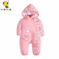 Wuawua Brand Cotton Fabric One Piece Baby Girl Romper Winter Clothes Detachable Collar Hoodies Outerwear Infant