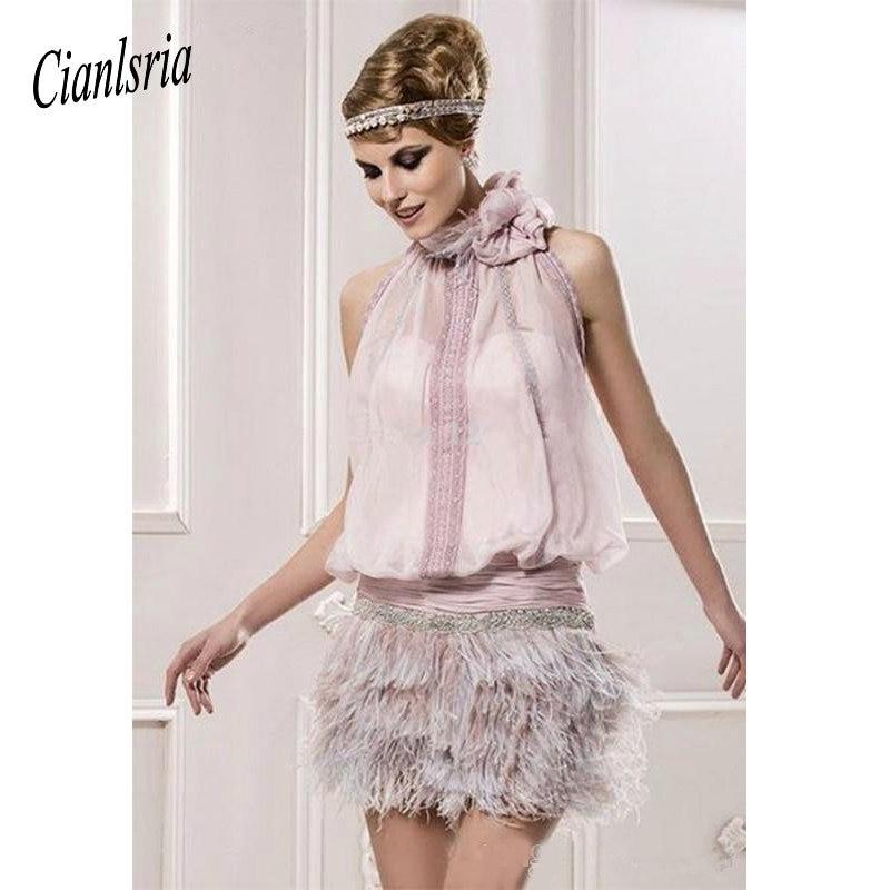 Pink 2019 Elegant   Cocktail     Dresses   Sheath Halter Chiffon Feather Beaded Elegant Short Homecoming   Dresses
