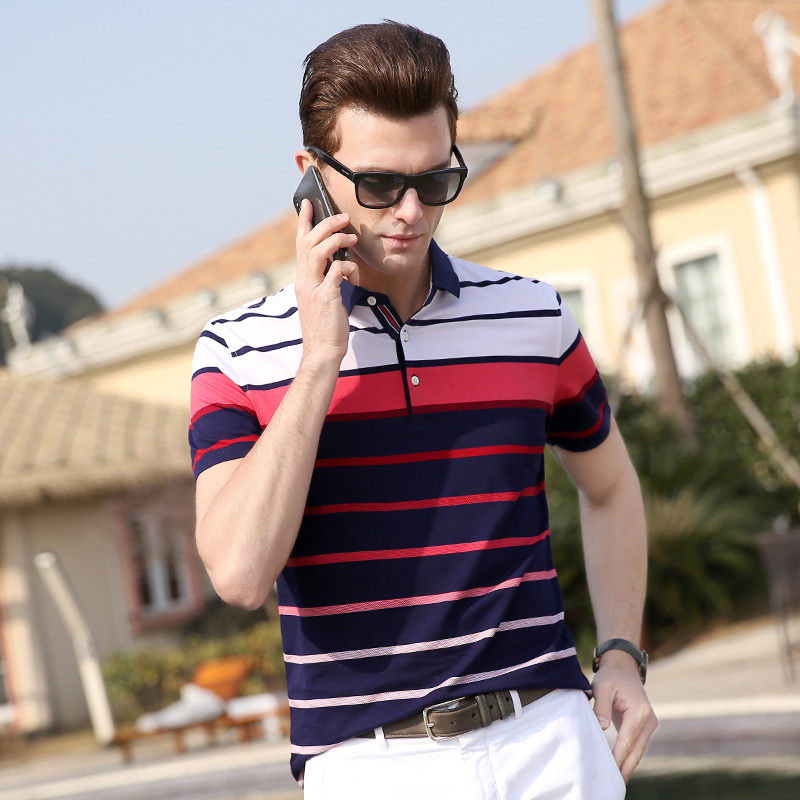 2019 New Fashion Brands Summer   Polo   Shirts Men Striped Short Sleeve Slim Fit Top Grade Mercerized Cotto   Polos   Casual Men Clothes