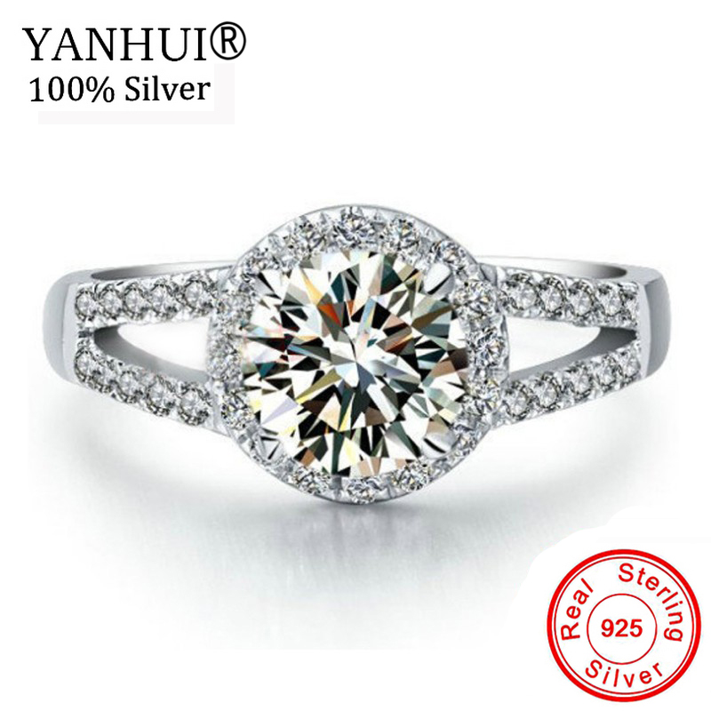Big Promotion! 100% Solid 925 Sterling Silver Ring Original 2 Carat CZ Diamant Engagement Wedding Rings Gift For Women HLR510 big promotion 100% original 925 silver wedding rings for women natural solitaire 6mm cz diamant engagement rings jewelry rj003