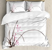 Duvet Cover Set , Traditional Ink Orchid Flower Drawing Oriental Chinese Effects Spiritual Theme 4 Piece Bedding Set