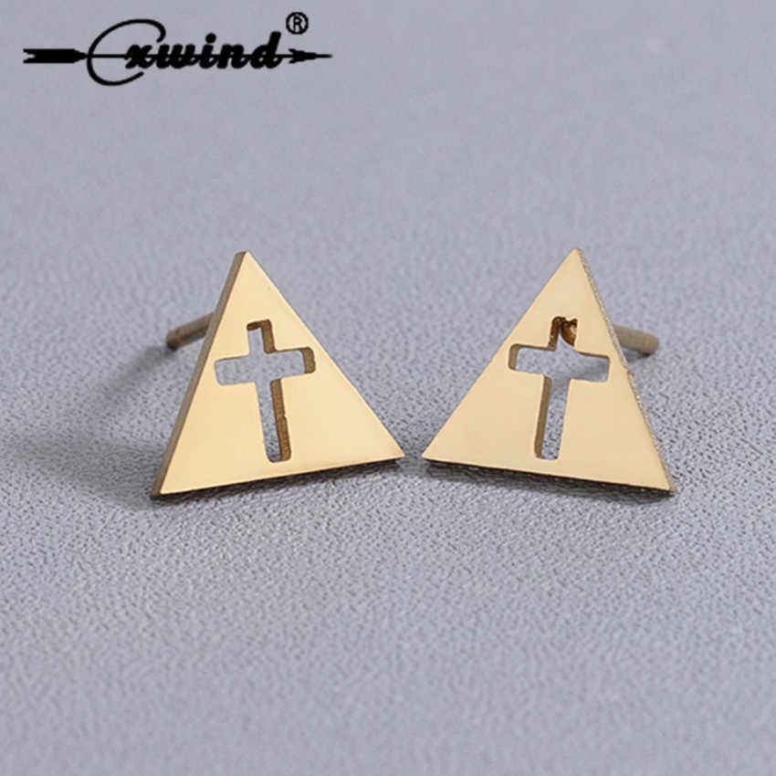 Cxwind złoty geometryczny trójkąt/krzyż/sowa/drzewo/królik stadnina kolczyk dla jezusa wiara kobiety kolczyki ze stali nierdzewnej biżuteria brincos