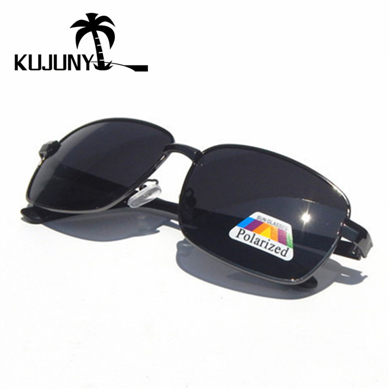 KUJUNY  Retro Rectangle Mens Polarized Sunglasses Vintage Polarizer Lens Sun Glasses Classical Night Vision Eyeglasses
