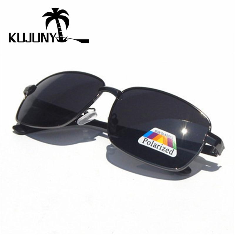 KUJUNY  Retro Rectangle Mens Polarized Sunglasses Vintage Polarizer Lens Sun Glasses Classical Night Vision Eyeglasses