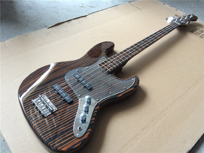 Free shipping wholesale top quality electric bass guitar Zebra wood body and neck/guitar in china china s es p guita wholesale newest explorer electric guitar high quality ems free shipping free shipping