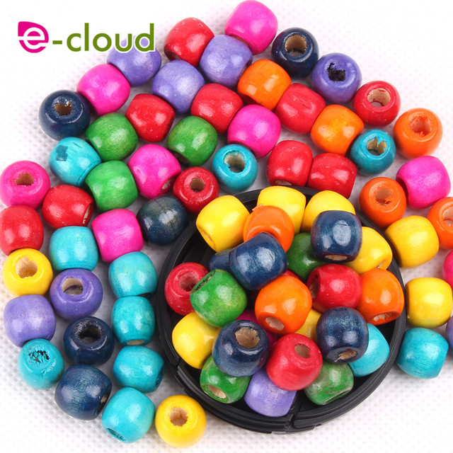 100 шт/лот 5 мм разноцветные круглые деревянные бусины dread фотография