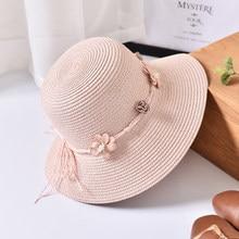 1df59e32 HT1555 2018 New Women Summer Sun Hats Flower Band Solid Wide Brim Hats  Ladies Casual Floppy Beach Hats Female Panama Bucket Hat