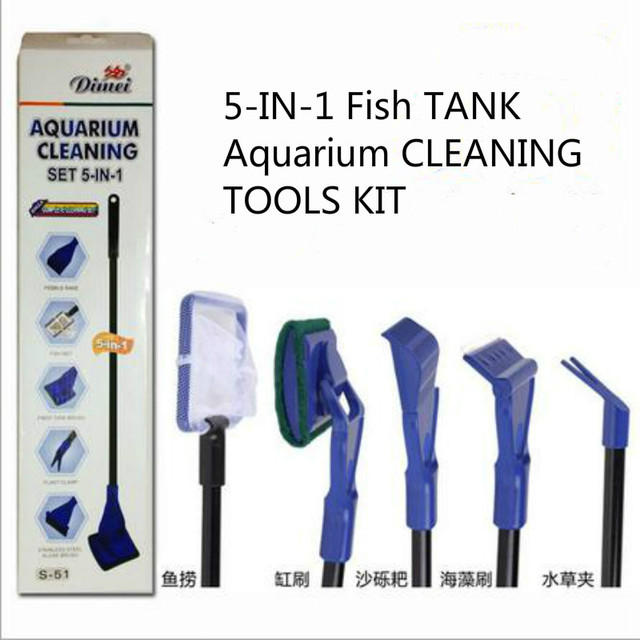 5 in 1 fish tank aquarium cleaning tools kit accessories for Fish cleaning kit