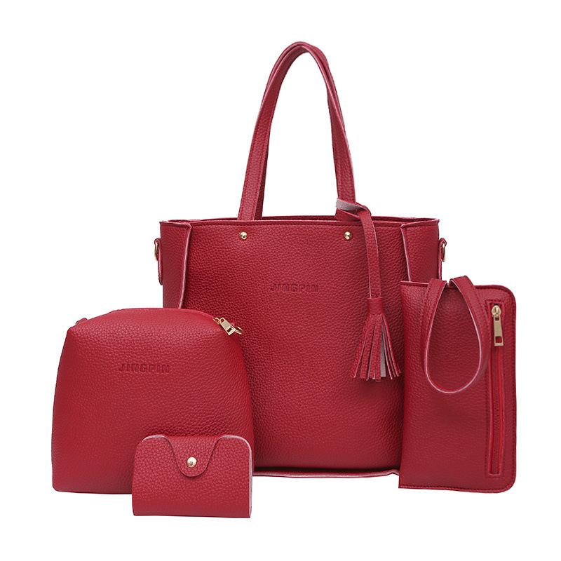2017 Female Famous Brand Messenger Totes Handbag PU Leather Tassel Composite Bag Crossbody Messenger Bolsa Feminina for Women