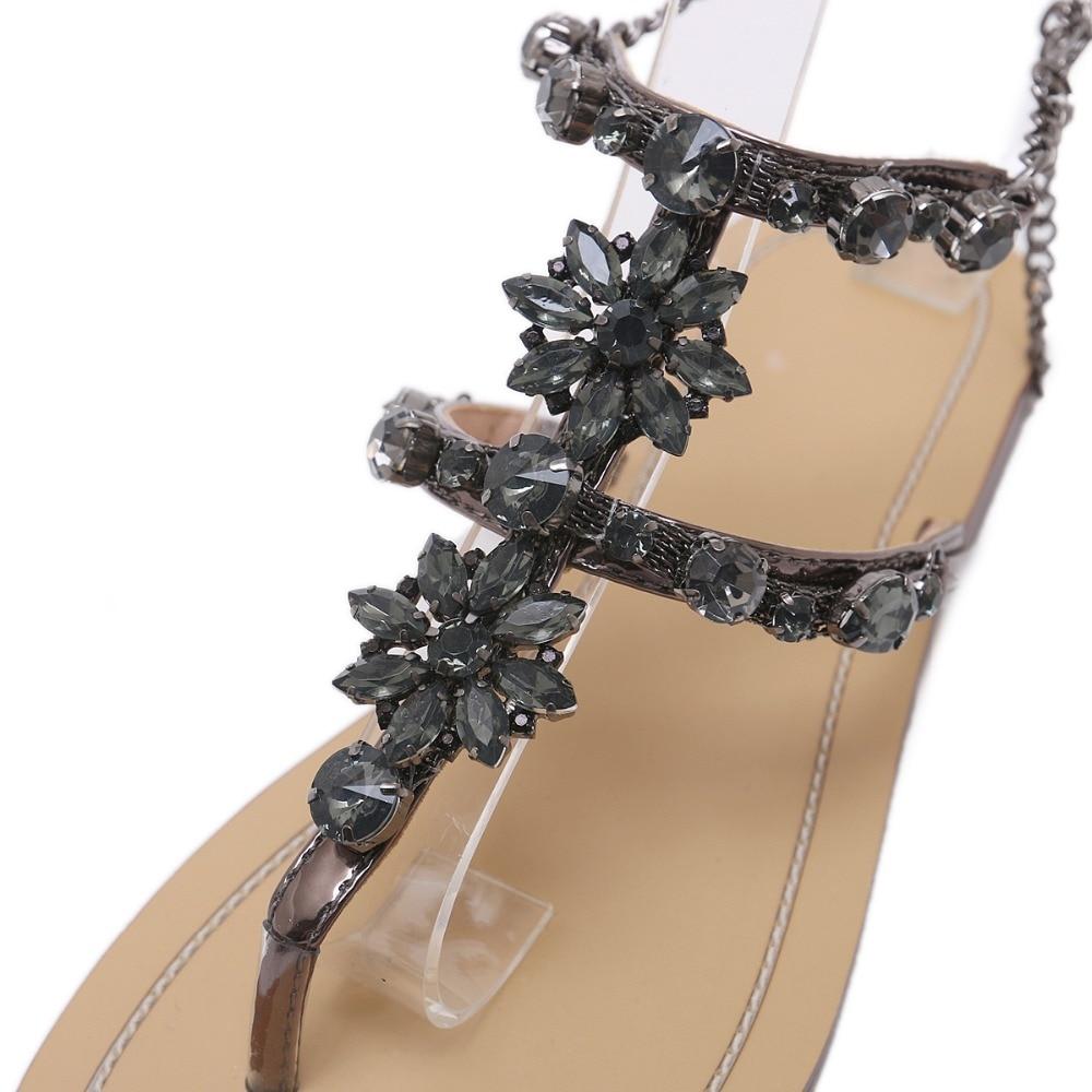 HTB1bXbCfAUmBKNjSZFOq6yb2XXap 6 Color Woman Sandals Women Shoes Rhinestones Chains Thong Gladiator Flat Sandals Crystal Chaussure Plus Size 46 tenis feminino