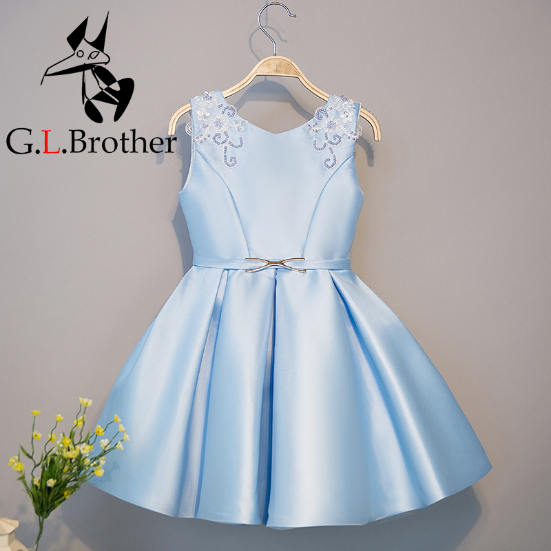 2-10T Satin Flower Girl Dresses Appliques Pleated Party Wedding Dress For Girls Kids V-neck Sleeveless Sweet Princess Dress sweet round neck button down knit dress for women