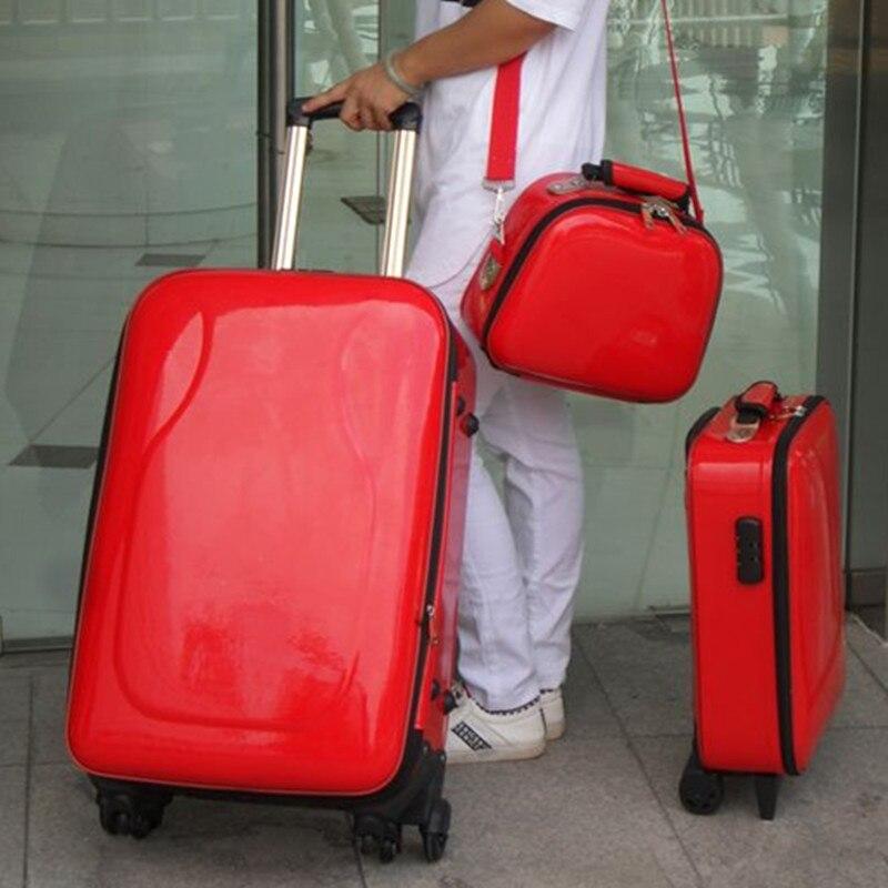 Trolley Case spinner wheels women Lockbox Spinner Wheel Polychromatic traveller girl Travel Suitcase  Luggage Pull Rod trunk