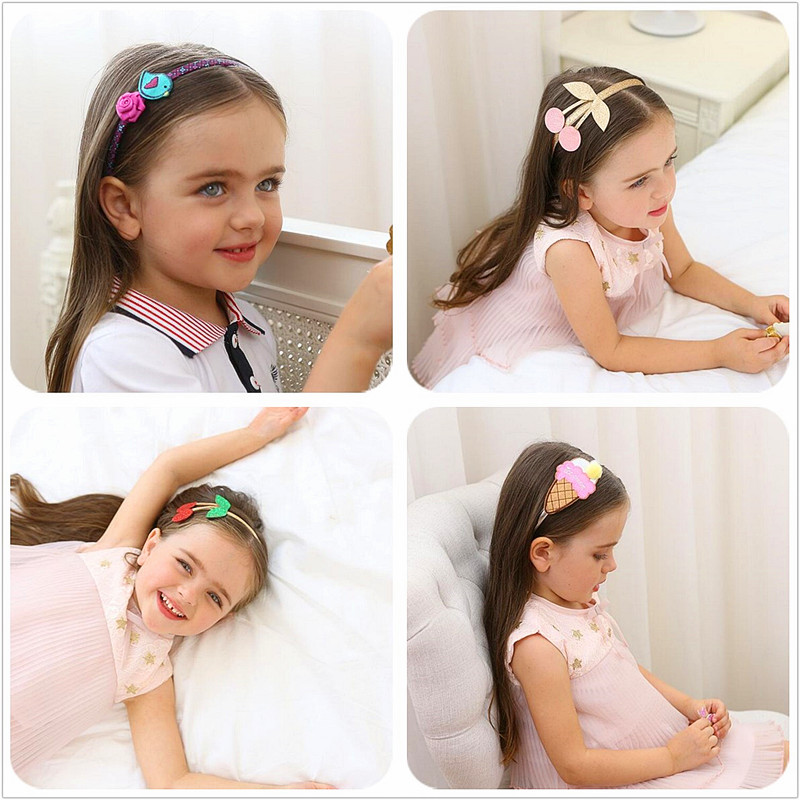 2017 Creative design Ice Cream Headband with Pompom girls birds flower Hairband Kids lovely Cherry Head hoop hear Accessories G2