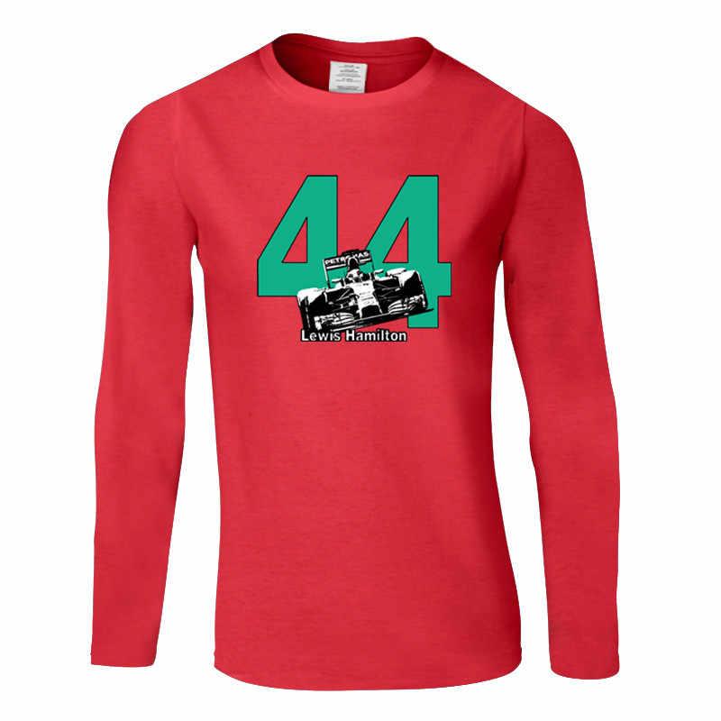 Забавные Льюис Хэмилтон 44 F1 гоночного автомобиля футболка Для мужчин больших размеров Размеры Футболки с круглым вырезом модная уличная одежда в стиле хип-хоп Длинные рукава Футболки