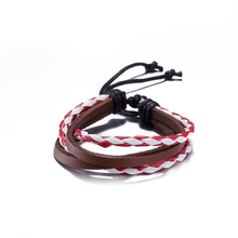 New 2017 Fashion Simple Style Bracelet Leather Braided Chain Cuff Bracelet Wristband Wrap Red&White Bracelet For Couple Jewelry
