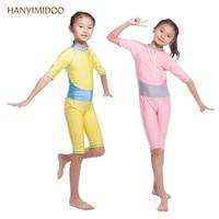 HANYIMIDOO Muslim Swimwear Kids Girls Long Sleeve Modest Muslim wear Lycra Tights Islamic Arab Bikini Swimsuit Bathing suit H