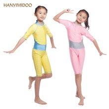 HANYIMIDOO Muslim Swimwear Kids Girls Long Sleeve Modest Muslim wear Lycra Tights Islamic Arab Bikini Swimsuit Bathing suit C