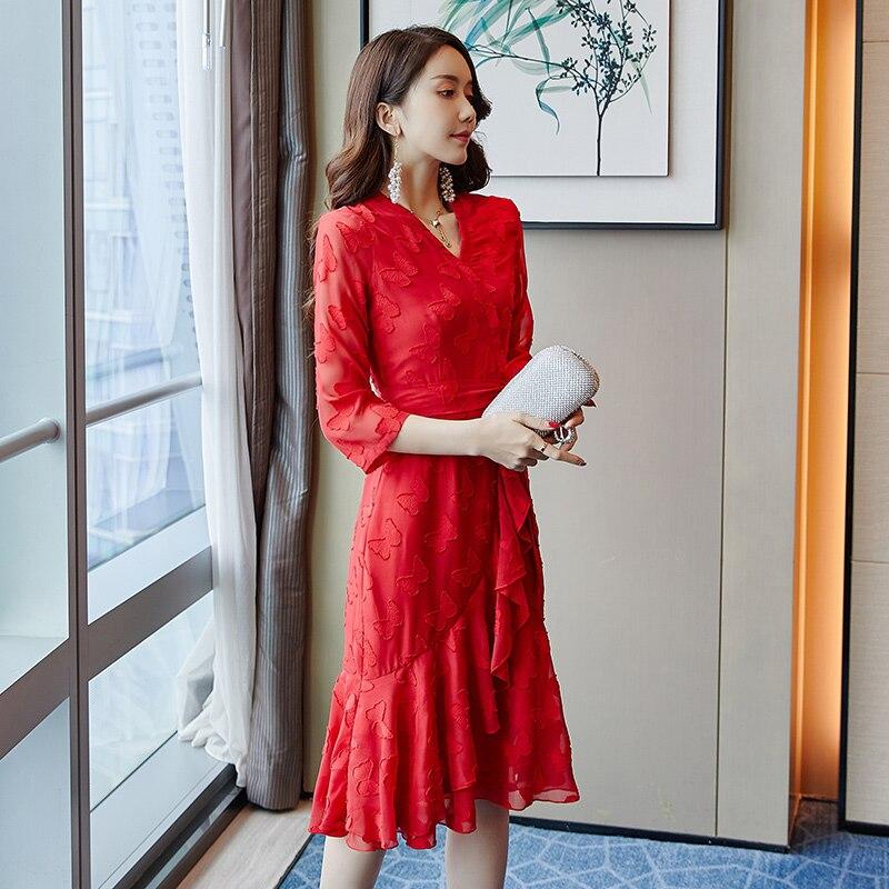 Robe en mousseline de soie rouge femmes 2019 nouvelles robes d'été 3/4 manches col en v moulante femmes longue robe a-ligne Vintage robe adolescente
