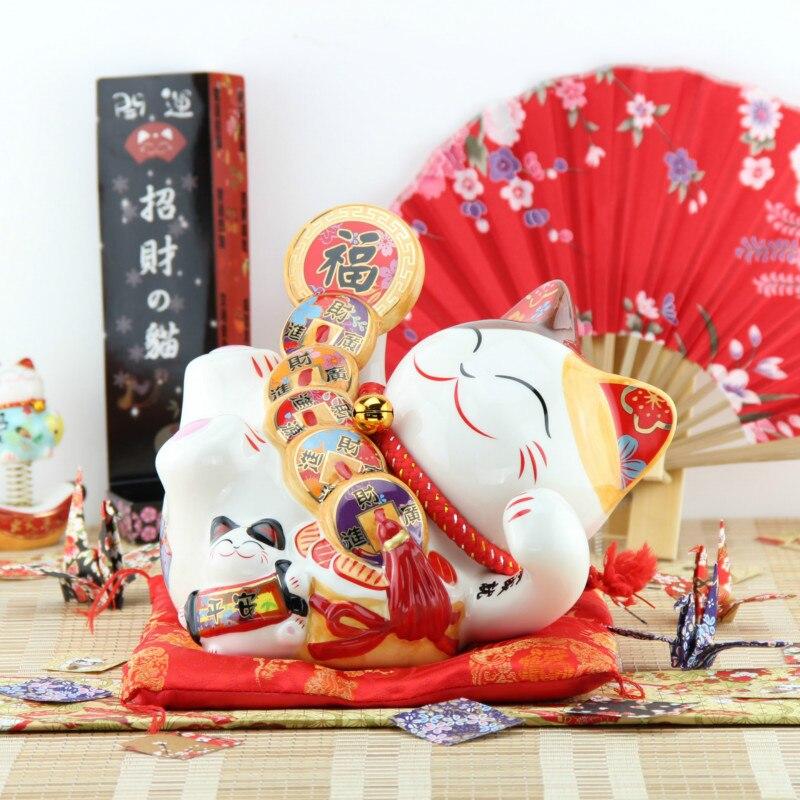 Grande taille 8 pouces en céramique artisanat chat tirelire décor à la maison mignon tirelire ornements créatif chat tirelire chanceux chat tirelire