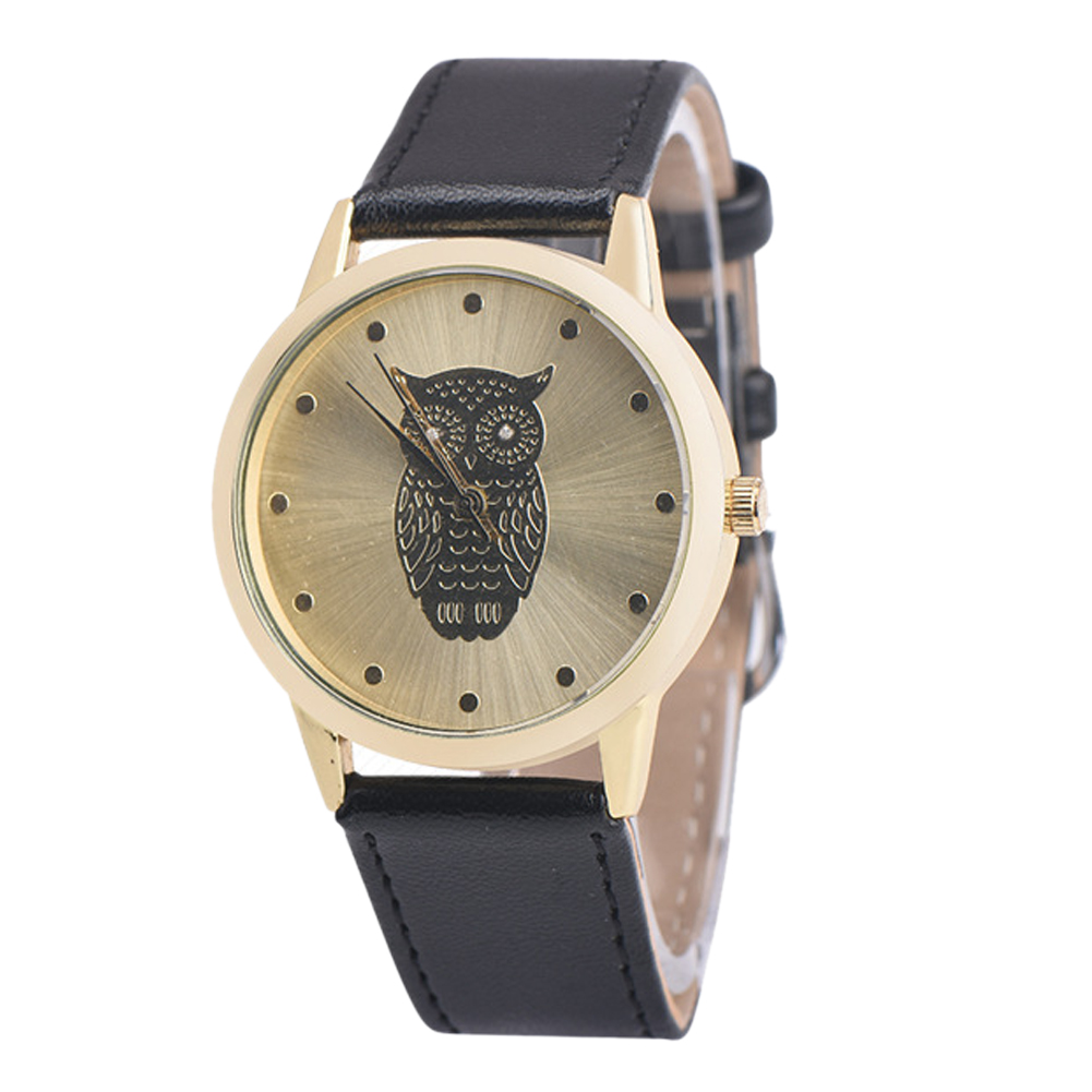 Fashion new Quartz Women Watch relogios fashion owl pattern WristWatch female clock Hours Faux Leather Gold Dial Quartz-Watch