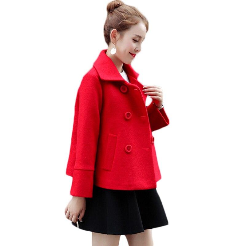 Básica Sólido Botonadura Longitud Xh766 Doble Del De Exteriores rose Lana Resorte Red Vestir Invierno Color Corta Elegante Rojo Mezcla Mujeres Prendas Chaqueta Otoño EPqg5wg