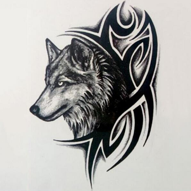 Beautiful Cute Sexy Body Art Beauty Makeup Cool Wolf Waterproof Temporary Tattoo Stickers For Unisex