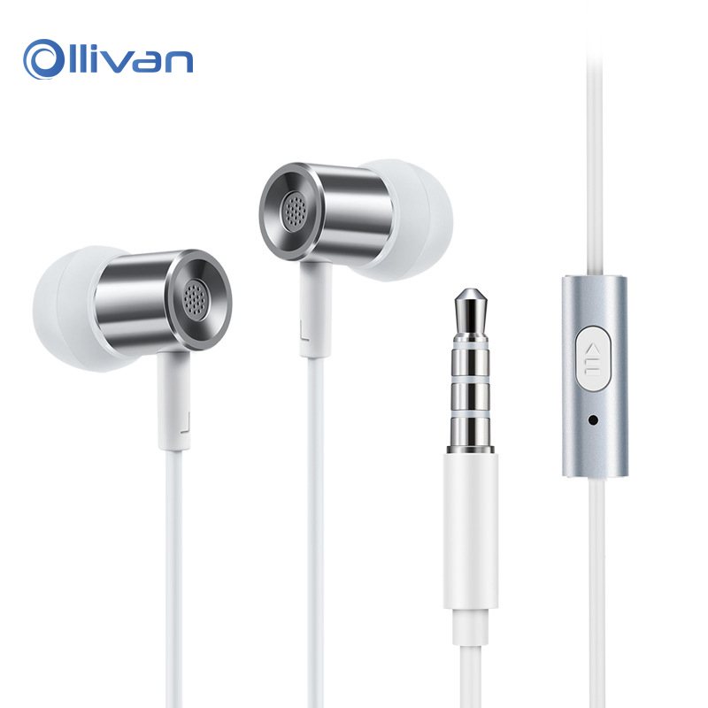 Ollivan 3.5mm in ear Earphone with Microphone Sports Headsets Metal HIFI Stereo Bass Earbuds for iPhone xiaomi huawei all phones