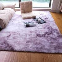 Luxury Rectangle Gradient color Sheepskin Hairy Carpet Faux Mat Seat Pad Fur Plain Fluffy Soft Area Rug Home Decor Washable mat