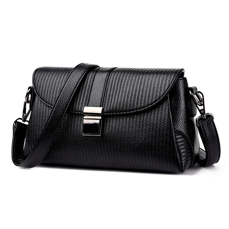 Fashion Women Lock Leather Small Striped Shoulder Bags Designer High Quality Chains Bag Ladies Crossbody Sac a Main Handbags fashion designer high quality women saddle crossbody bags ladies solid vintage shoulder bag sac small soft messenger clutch bag
