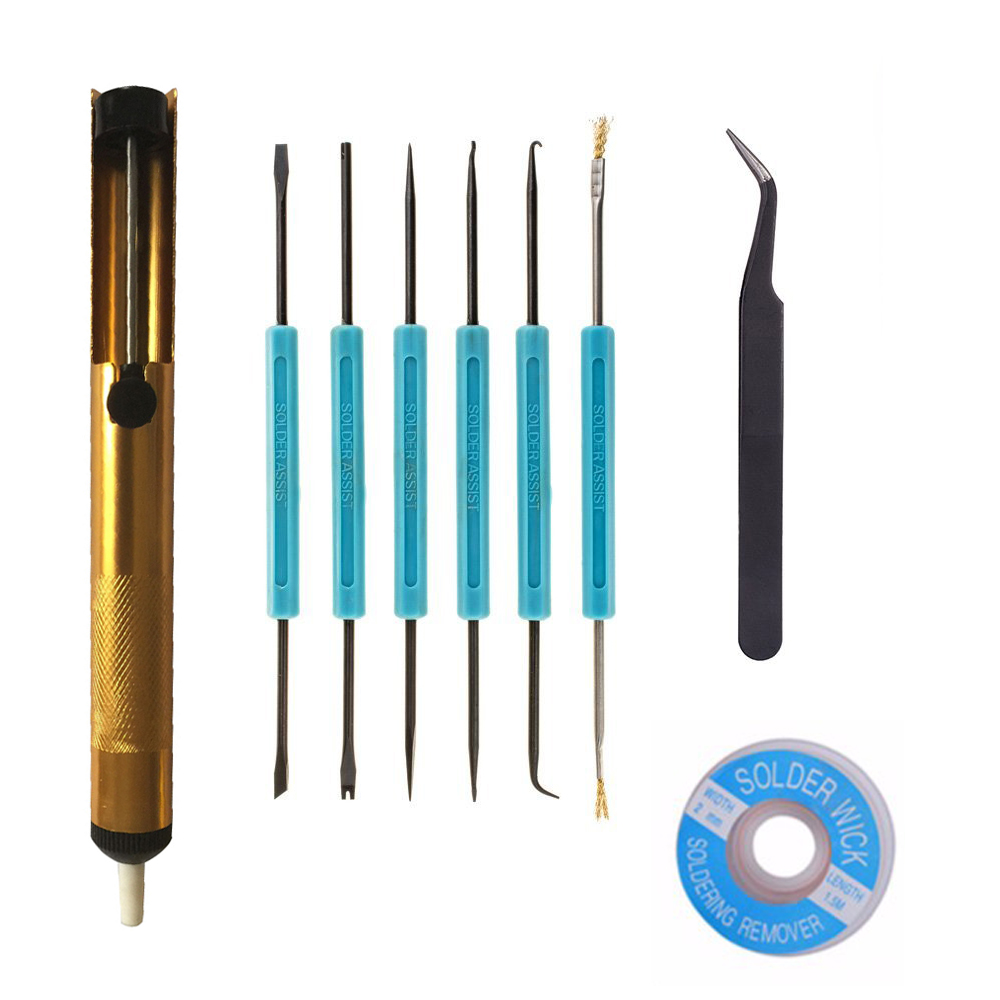 New 9 PCS Electronic Components Welding Repair Tool Set Solder Assist Tools and Accessory Kit with Desoldering Pump Tweezer