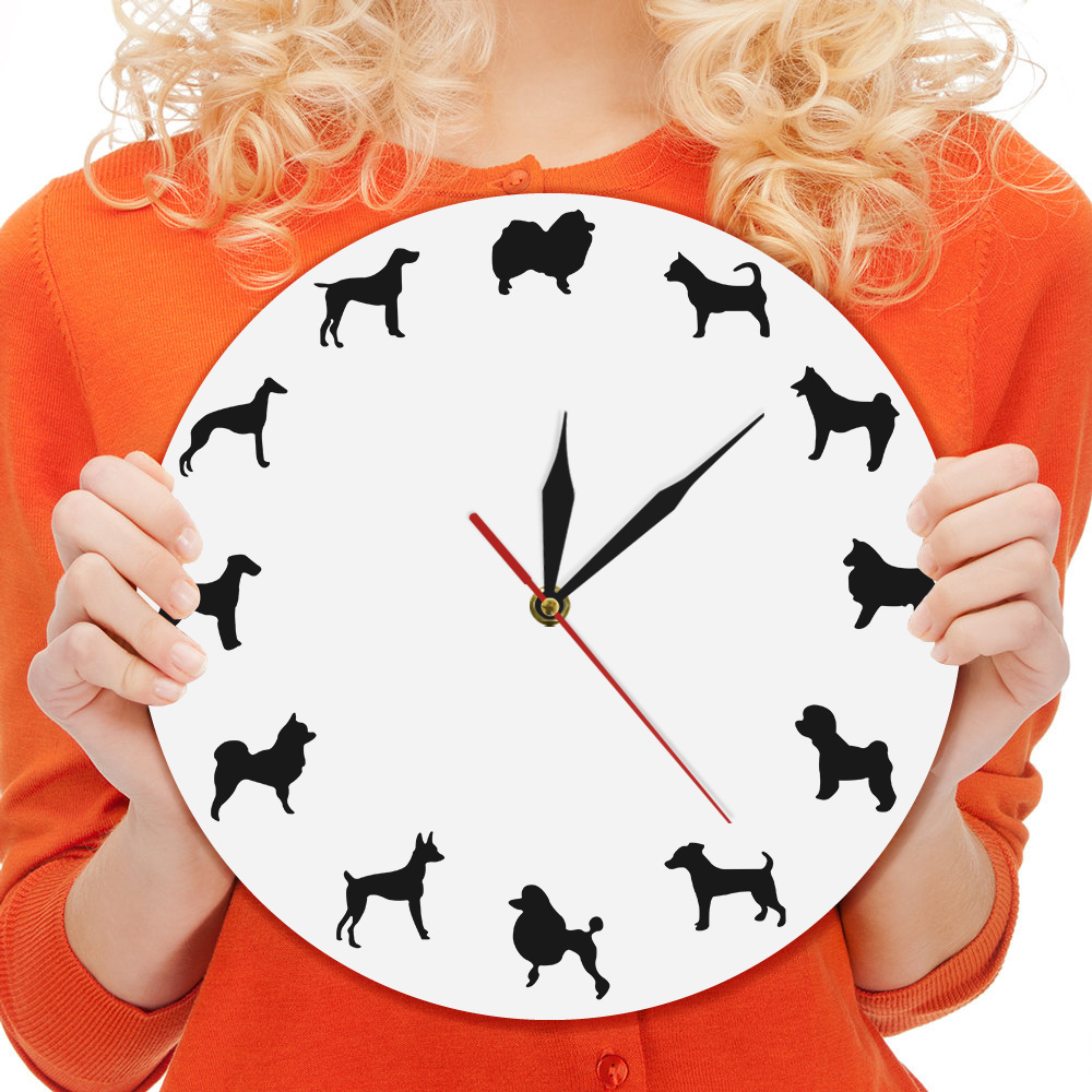 1Piece Adorable Dog Breeds Wall Clock Puppies Room Silent Clock Dog Clock Different Breeds Iconic Silhouette Pet Lovers Gift