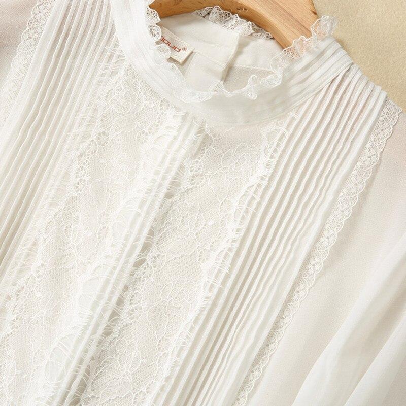 MissFoFo 2017 nouvelle mode printemps chemise régulière femmes chemise blouse décontractée o-cou bouton bureau complet dame noir blanc taille S-XXL - 6