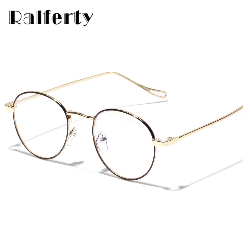 2e8df02929 Ralferty Retro Round Clear Glasses Frame For Women Men Vintage Metal Rims Optical  Frames Small Prescription Eyeglasses 3215-in Eyewear Frames from Apparel ...