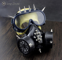 Steampunk Gothic Studded Gas Mask with Safety goggles Cosplay halloween