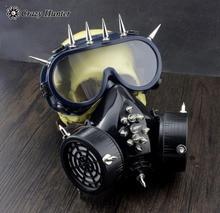 Steampunk Gothic Studded Gas Masker met veiligheidsbril Cosplay halloween