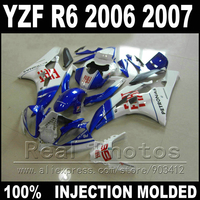 100% Fit body kit for YAMAHA R6 fairing 06 07 Injection molding blue white 2006 2007 YZF R6 fairings