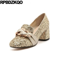 Big Size Silver Women Metal Chunky Sequin Gold Party High Heels Square Toe Pumps Shoes Ribbon 11 43 Wedding Bling Glitter 33