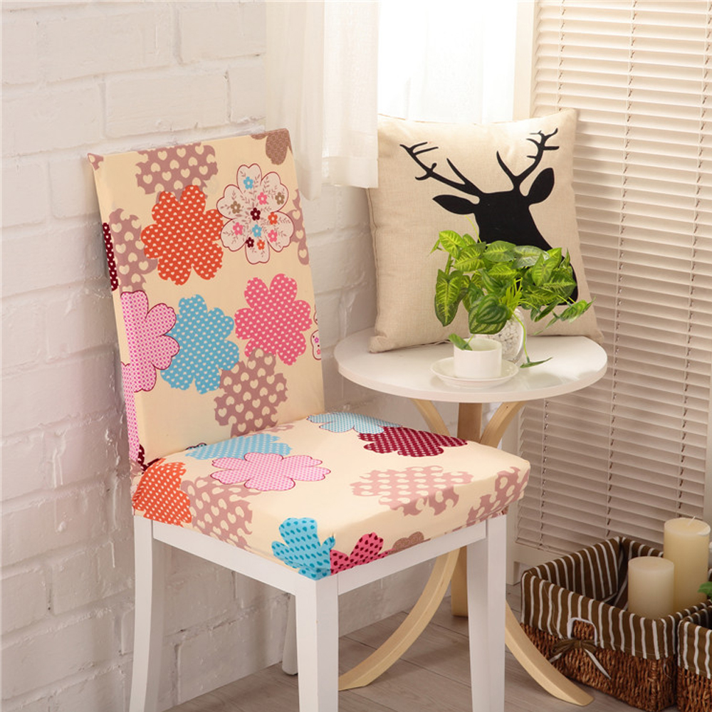 yazi 1pc Garden Flower Super Fit Stretch Dining Room Chair Covers Seat Dustproof Protector Slipcover Wedding Decor
