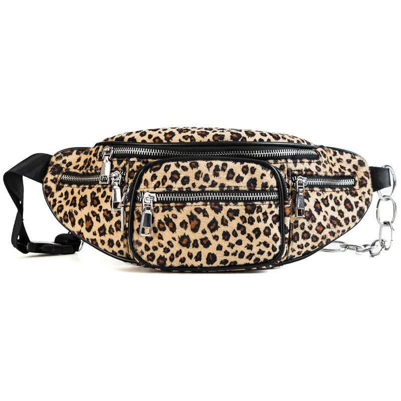 fb9a9b397d Women s Leopard Print Fanny Waist Pack Shoulder Belt Bead Chest bag for women  2018 Handbag coin