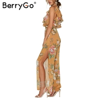 BerryGo Boho Ruffle Chiffon Summer Overalls Deep V Women Jumpsuit Romper BodysuitBackless High Waist Split Playsuit