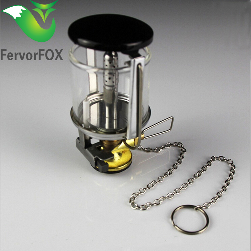 Top quality Mini Portable Camping Lantern Gas Light Tent Lamp Torch Hanging Glass Lamp Chimney Butane for Outdoor Travel one light frosted glass antique rust hanging lantern