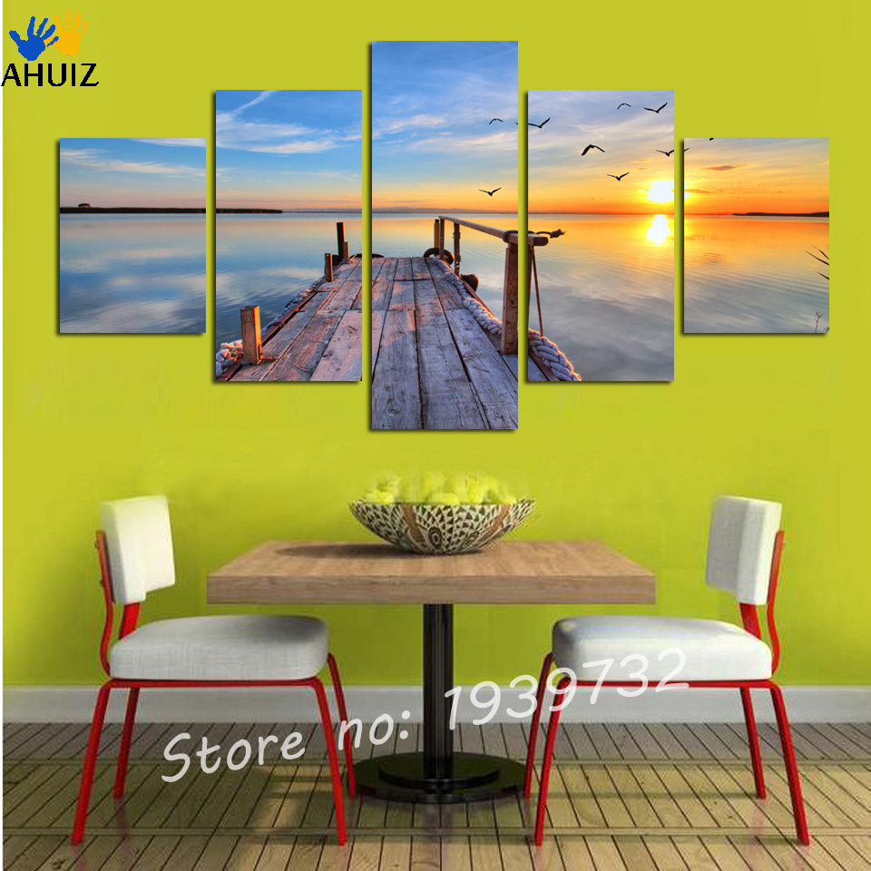 5 pieces canvas Free shipping wall art picture modren painting Hot ...