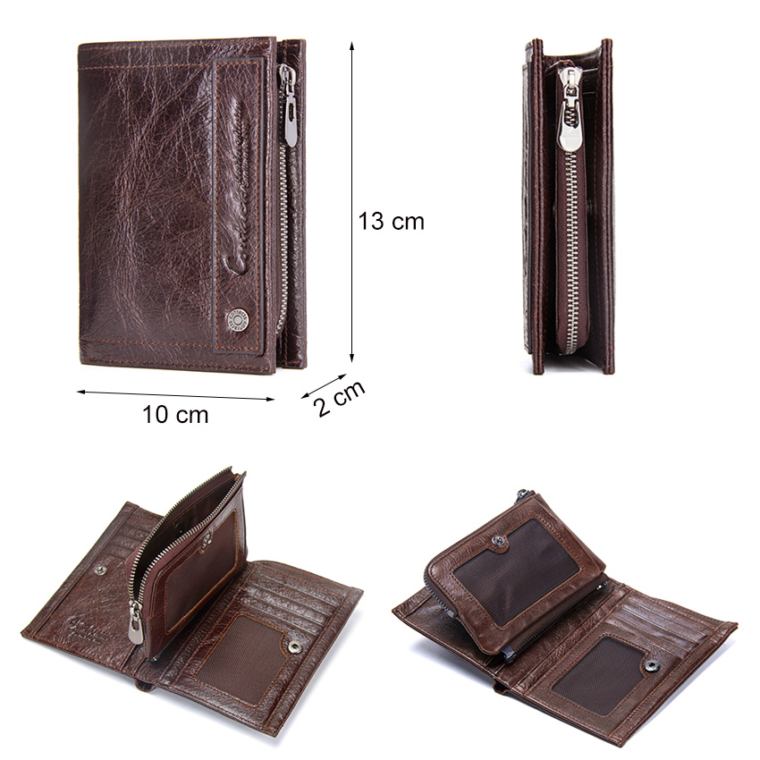 2019 New Design Brand Men Wallets 100% Genuine Leather Purse with Credit Card Holder Male Wallet Zipper Coin Pocket Photo Holder 4