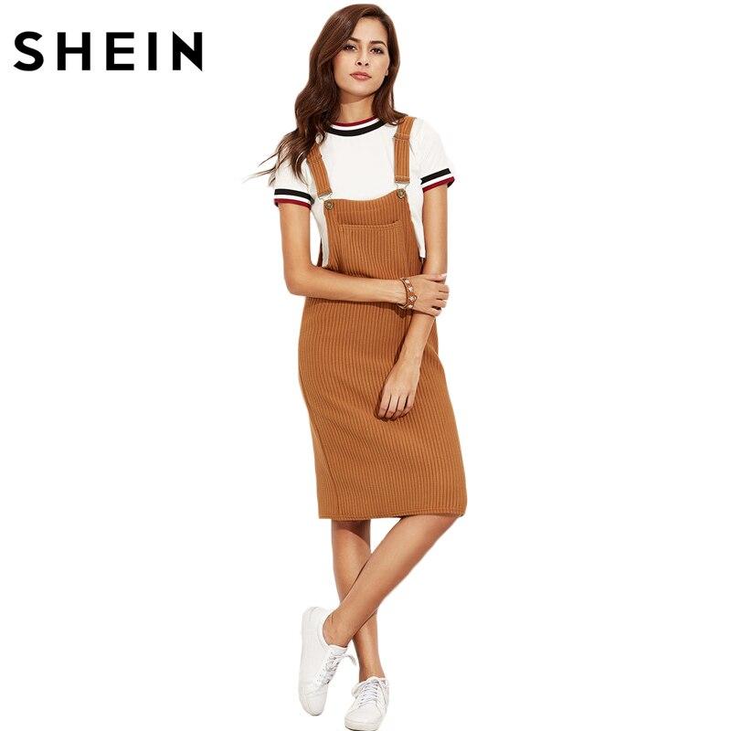 SHEIN Casual Shift <font><b>Dresses</b></font> for Woman Autumn <font><b>Khaki</b></font> Sleeveless Strap <font><b>Ribbed</b></font> Knee Length <font><b>Overall</b></font> <font><b>Dress</b></font> <font><b>With</b></font> <font><b>Pockets</b></font>