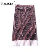 RealShe Đường Cao 2018 Phụ Nữ Sequins Pencil Midi Váy Nữ Mùa Thu Mùa Đông Cơ Bản Ống Bodycon Váy Saia