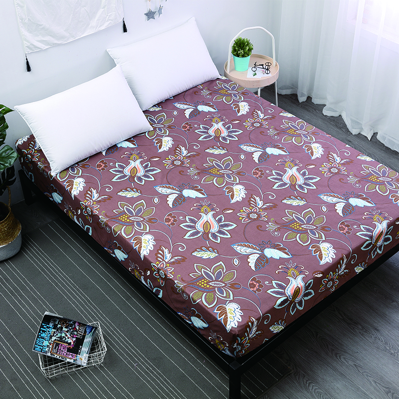 MECEROCK 1pc Polyester Bed Sheet on Elastic Rubber Band Printing Fitted Sheet Hot Sale Bed Linens Can Be Customized Pad Cover