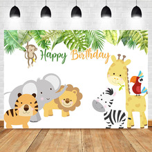 Jungle Cute Animal Birthday Party Photography Backdrops Kids Child Birthday Party Banner Dessert Table Decorate Props Background circus happy birthday backdrop clorful balloon flag photography background kids child birthday party dessert table decorate prop