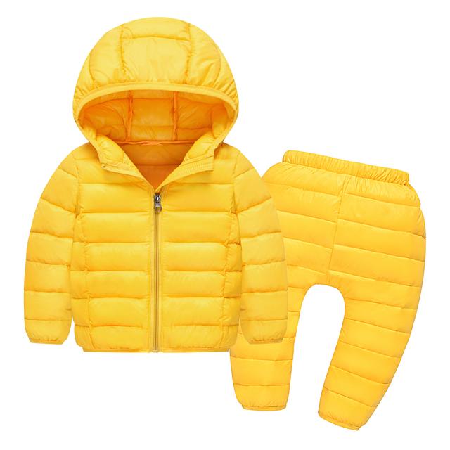 Ruso de invierno ropa de Abrigo Niños conjuntos 90% pato blanco abajo niños niñas Niños chaquetas Ropa de bebé outwear traje para la nieve a prueba de agua